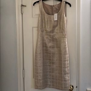 New Banana Republic gold metallic sheath dress